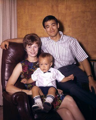 Bruce Lee, with his wife and son Brandon Lee circa 1967