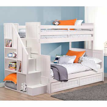 Ryan White Twin Over Double Bunk Bed With Universal Staircase Kid Beds Bunk Bed Designs Bunk Beds