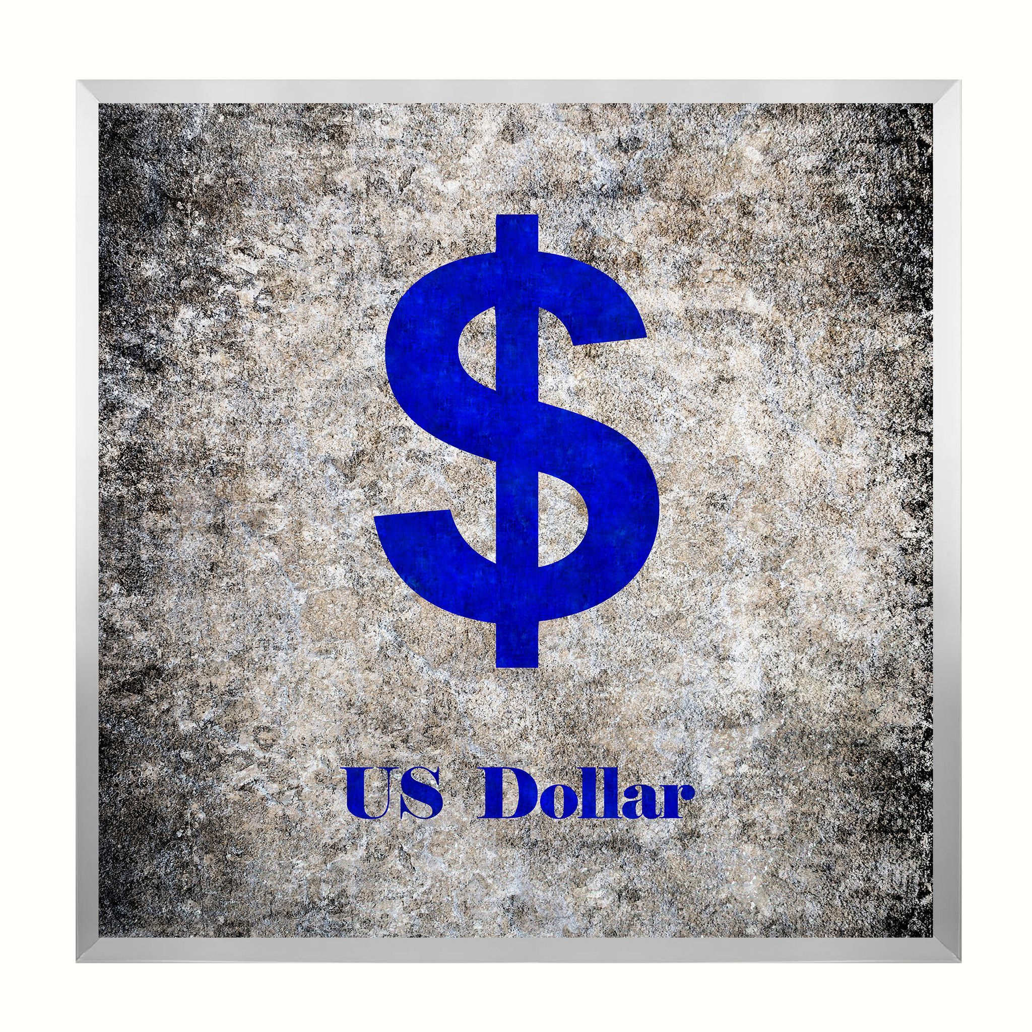 United States Dollar Money Currency Black Canvas Print, Silver Custom Frame