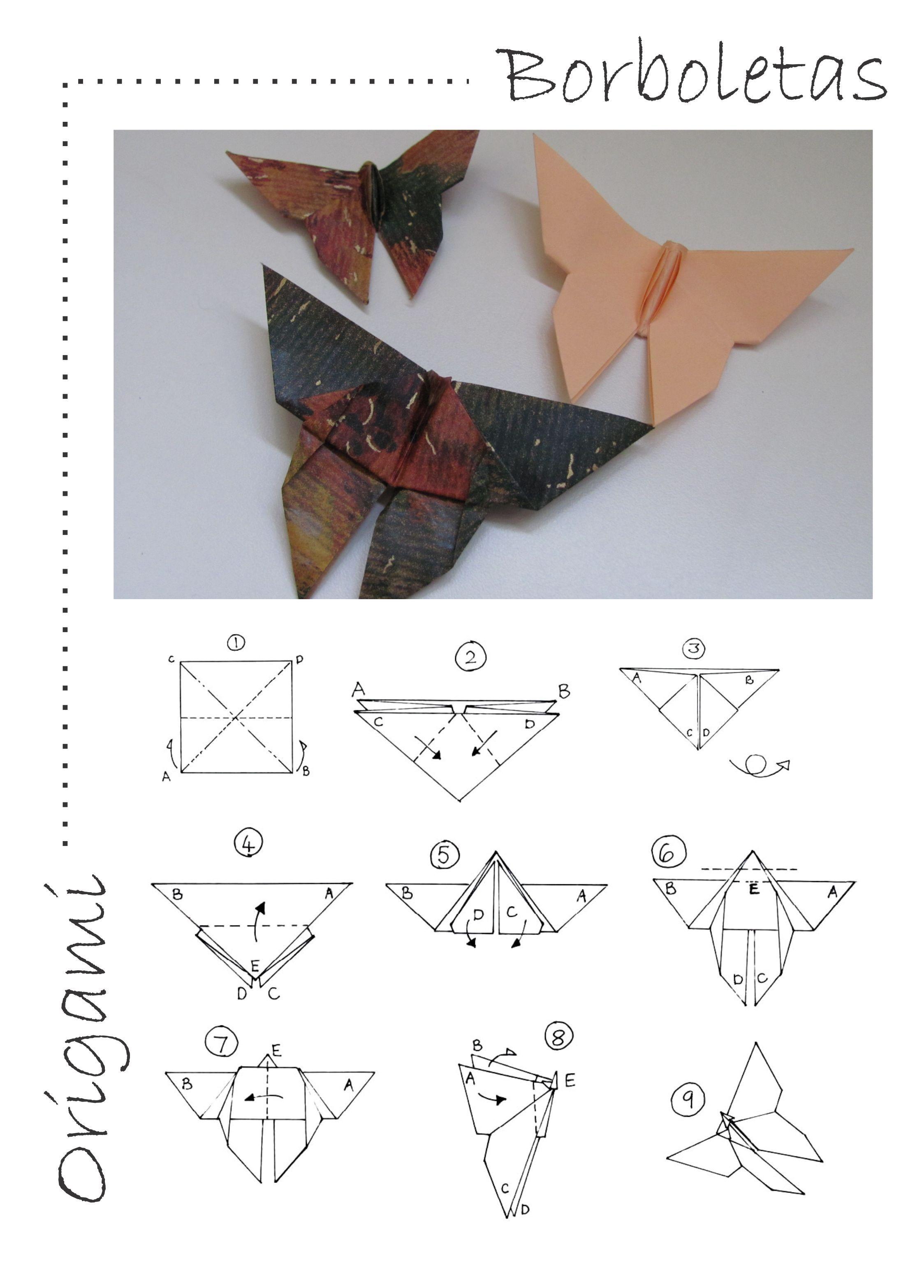 Borboleta de origami - Tutorial