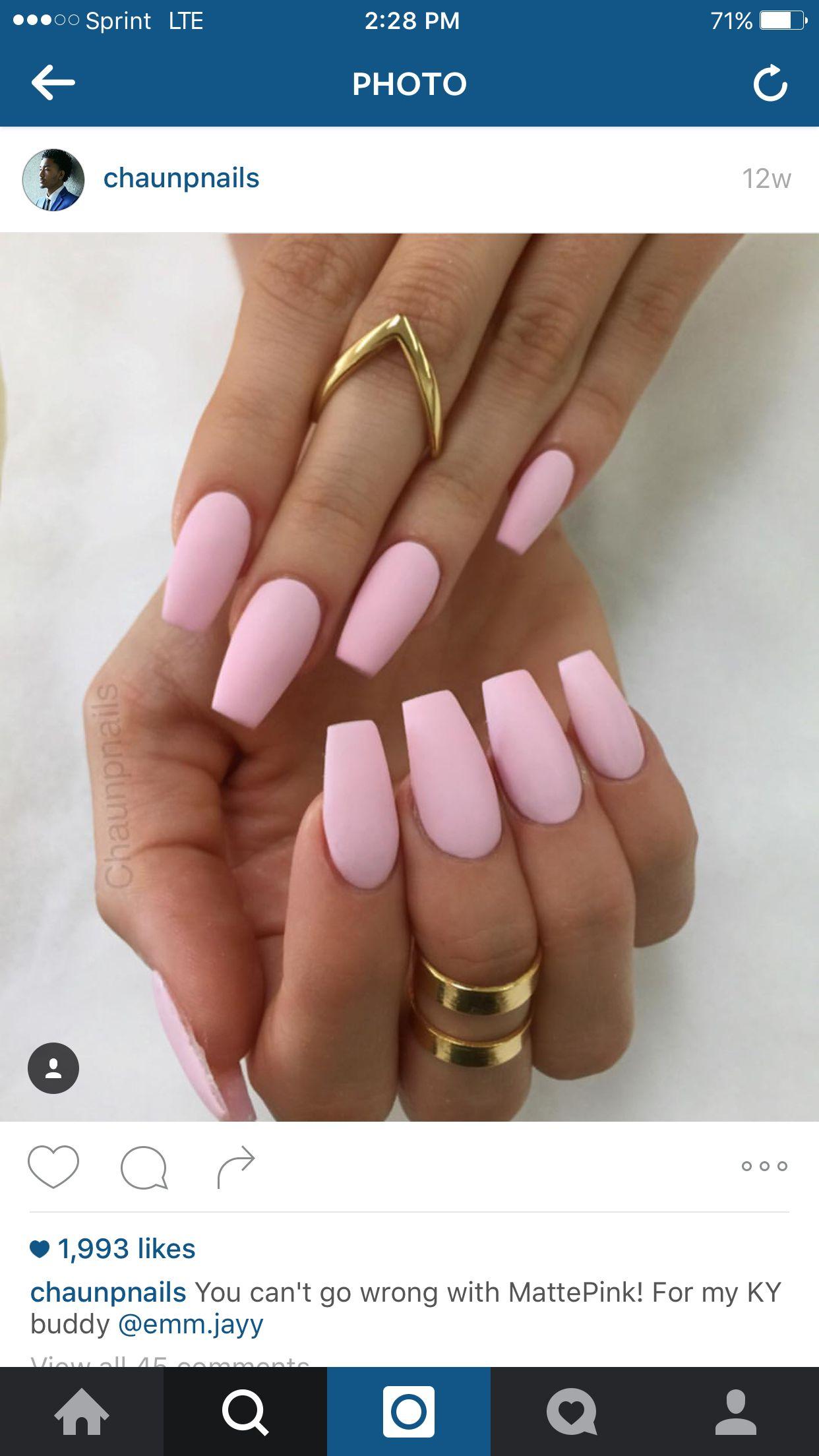 Matte pink   Nail ideas   Pinterest   Nail nail, Makeup and Nail inspo