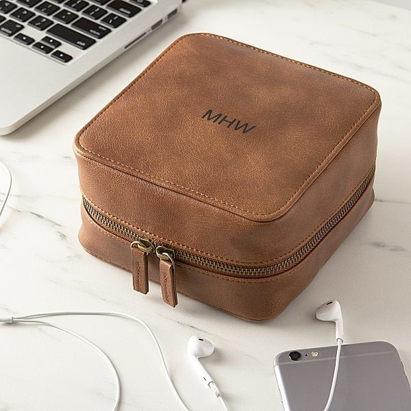 Personalized Brown Travel Tech Case in 2019  f575ccef36a32