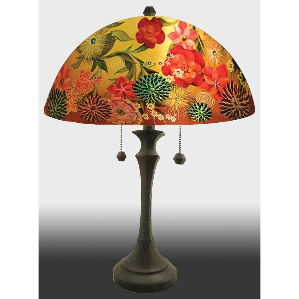 Spring Bouquet Reverse Hand Painted Glass Table Lamp By Jamie