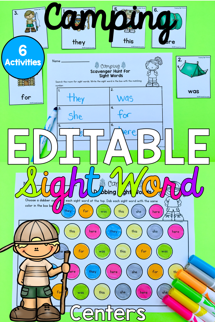 graphic relating to Kindergarten Sight Word Games Printable named Editable Sight Phrase Pursuits- Tenting Education and learning
