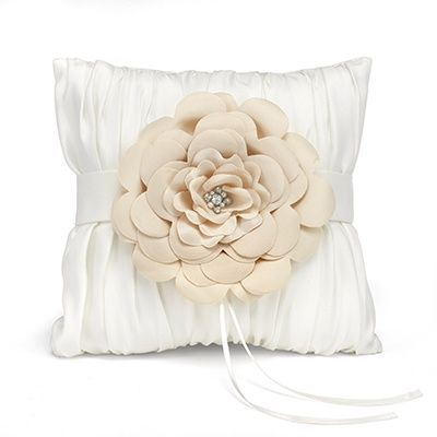 Love Blooms Ring Pillow Ivory, gathered satin ring bearer pillow with satin band and layered flower adornment with faux pearl and rhinestone center.