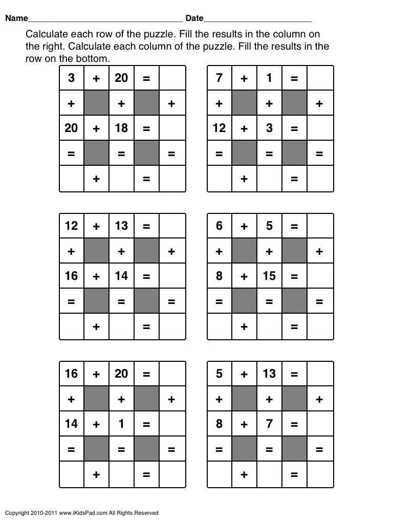 Free Printable 1st And 2nd Grade Math Games Fun Math Worksheets Maths Puzzles Math For Kids