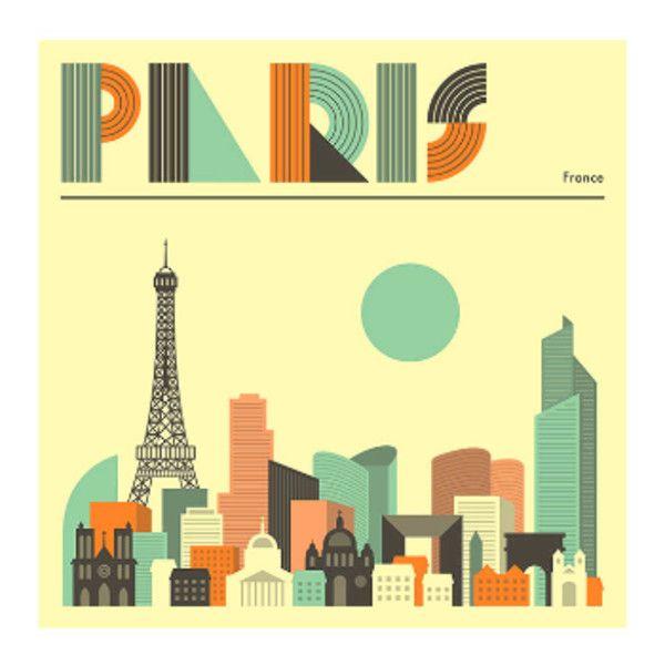 Jazzberry Blue Paris Cityscape A1 Unframed Print (505 HRK) ❤ liked ...