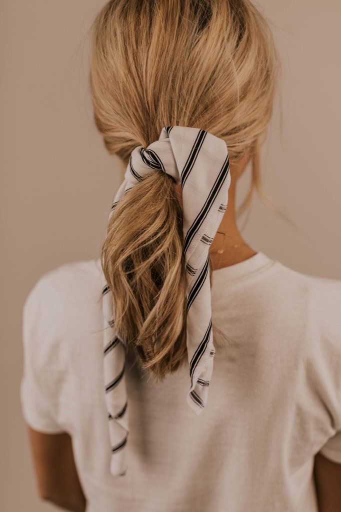 Abbey Road Bandana is part of Scarf hairstyles, Hair styles, Hair scarf styles, Headband hairstyles, Hair, Bandana hairstyles - Don't let your ponytail be boring this summer! The Abbey Road Bandana is made with super soft fabric  Easily paired with any outfit, these black and white stripes are a great summer go to