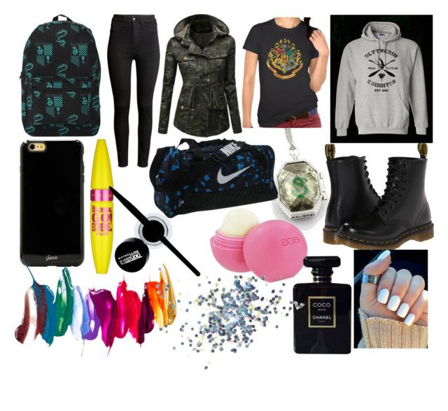 """Bez tytułu #198"" by vicki1d-cxc ❤ liked on Polyvore featuring H&M, Dr. Martens, Doublju, Sonix, NIKE, Eos, Maybelline, Chanel and Topshop"