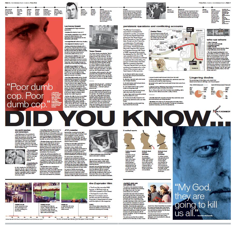 Inside A, special 2-page JFK coverage. Nov. 22, 2013.