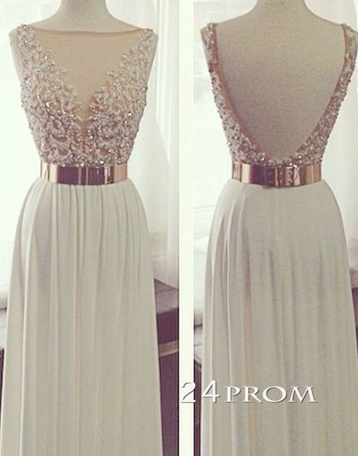 White A-line Backless Long Lace Prom Dresses, Formal Dress – 24prom ...