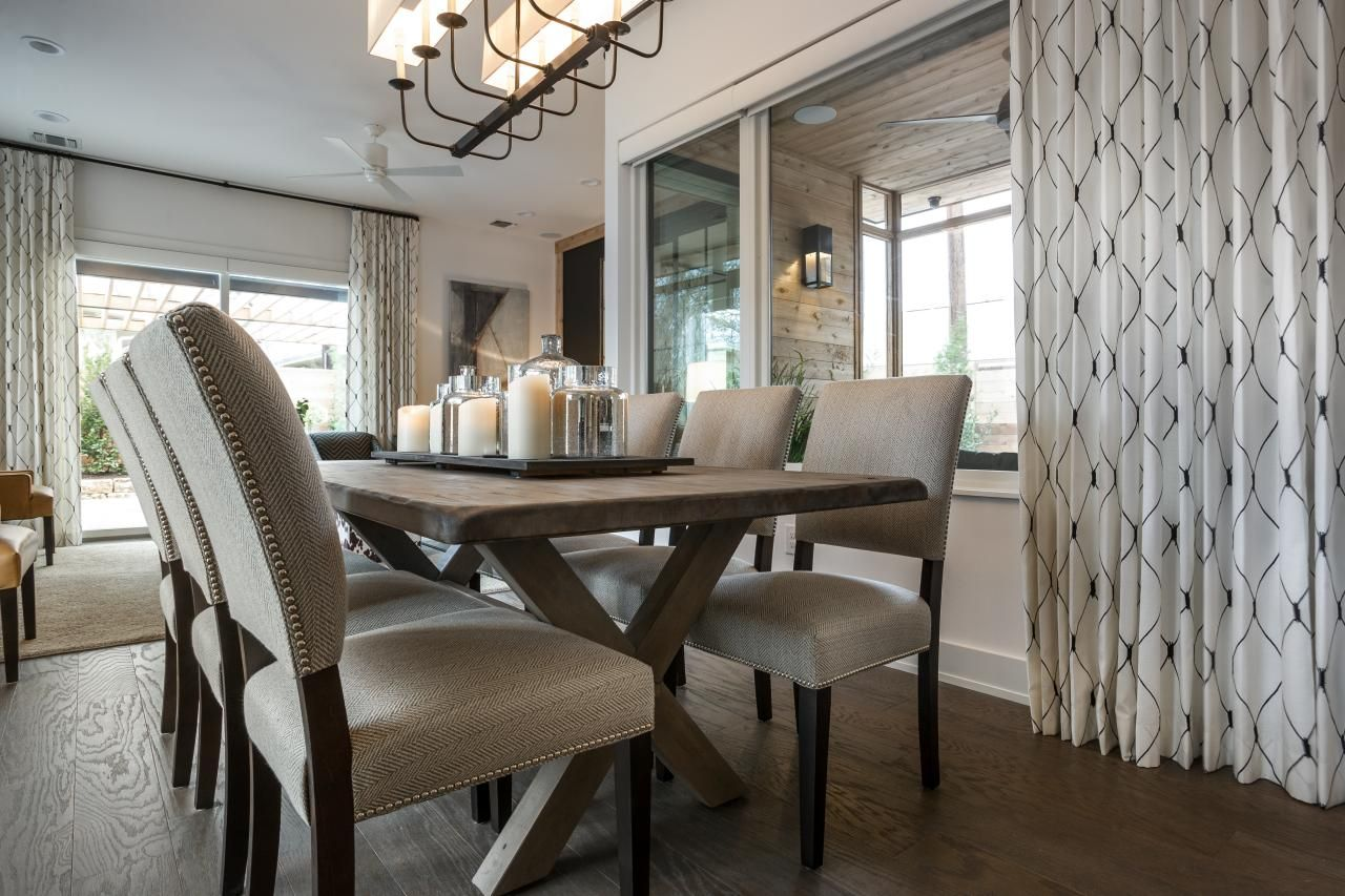 Rustikale esszimmerbeleuchtung ideen six custom upholstered side chairs add an aura of elegance to the