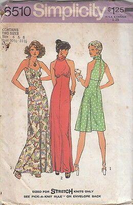 Vintage 70s Uncut Summer Open Back Halter Dress Pattern 6 8 Simplicity 6510 | eBay