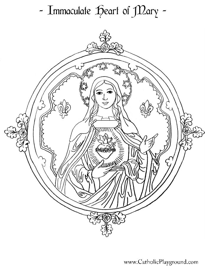 Immaculate Heart Of Mary Coloring Page Catholic Playground