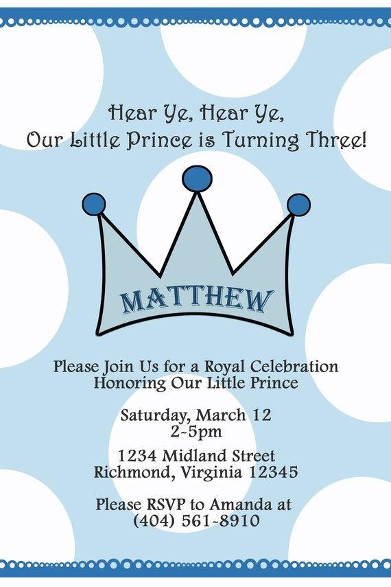Little Prince Crown Custom Digital Birthday Party Invitation Boy – Prince Party Invitations