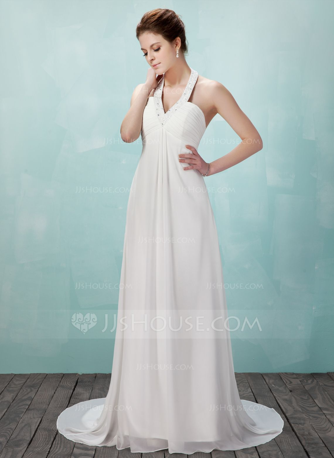 Empire Halter Court Train Chiffon Wedding Dress With Ruffle Beading ...