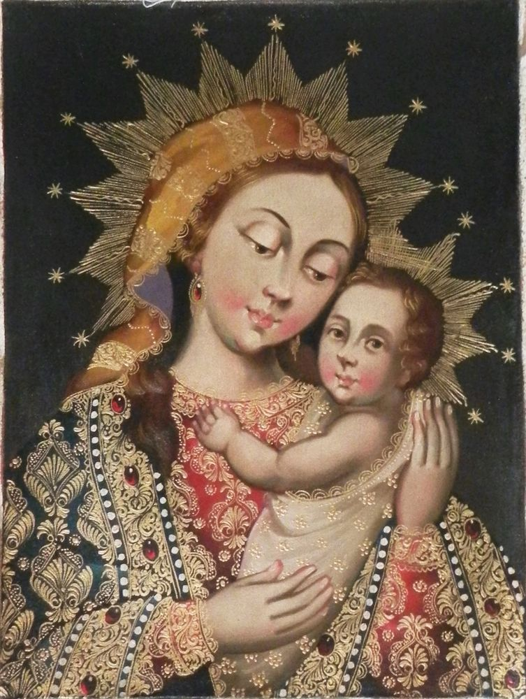 """12"""" X 16"""" Oil Painting Virgin Mary with Child Jesus Peru Cuzco Religious Madonna #CuzcoSchool"""