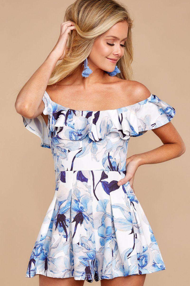 394461a7ceea Trendy Floral Print Romper - Cute Blue Romper - Romper -  46.00 – Red Dress  Boutique