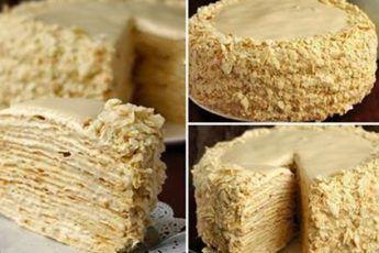 Napoleon-Kuchen mit einer köstlichen Sahne. - #einer #kostlichen #kuchen #napoleon #sahne - #Hannah'sNapoleonKuchenRezept #napoleonkuchenrussisch