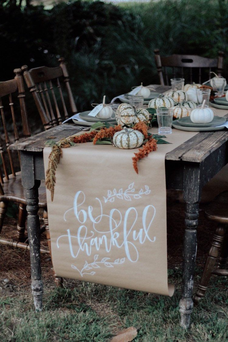 Thanksgiving Table Runner | Calligraphy Table runner | Holiday Table Runner | Kraft Table Runner