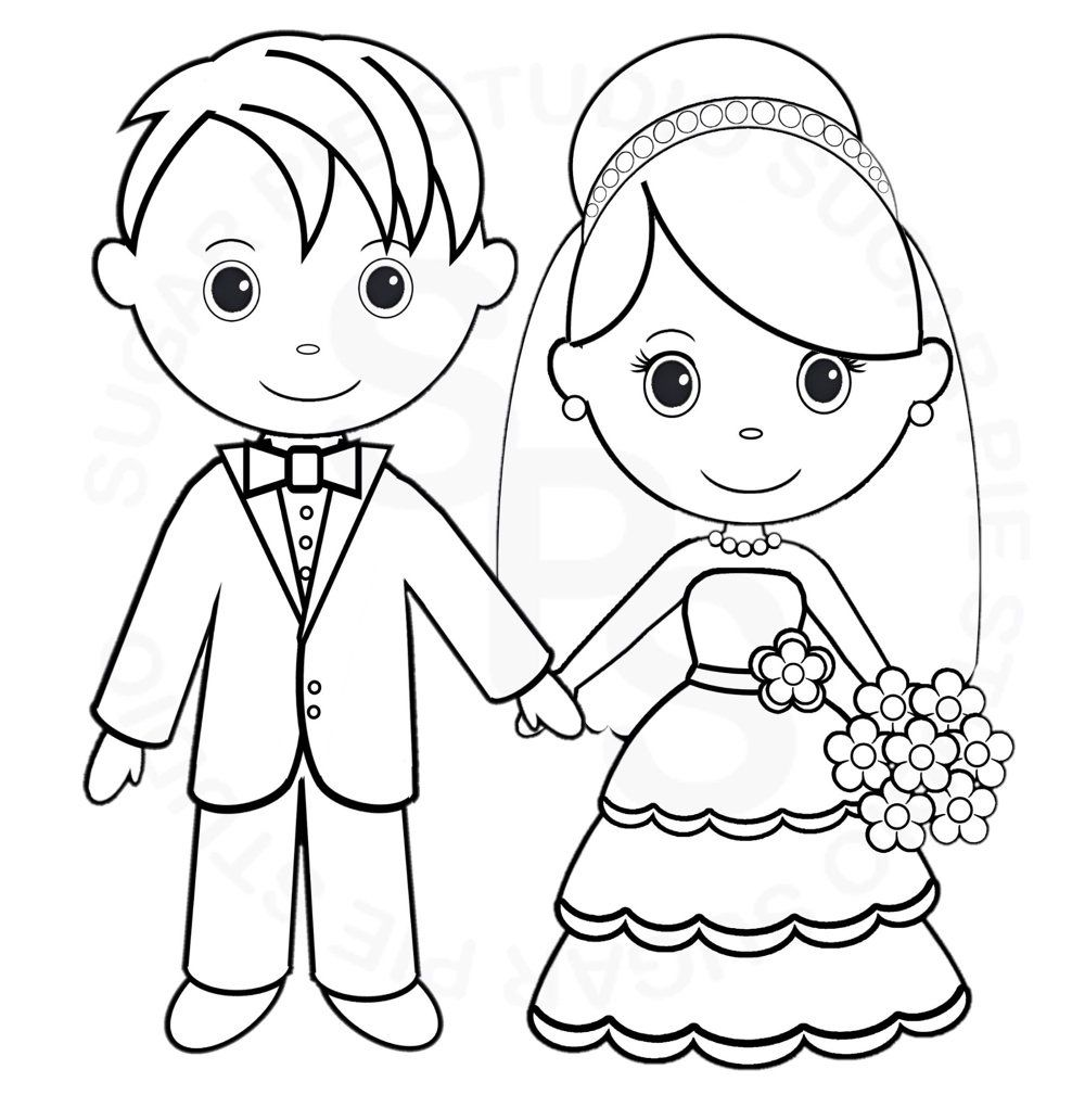 Children painting Wedding coloring pages, Wedding with