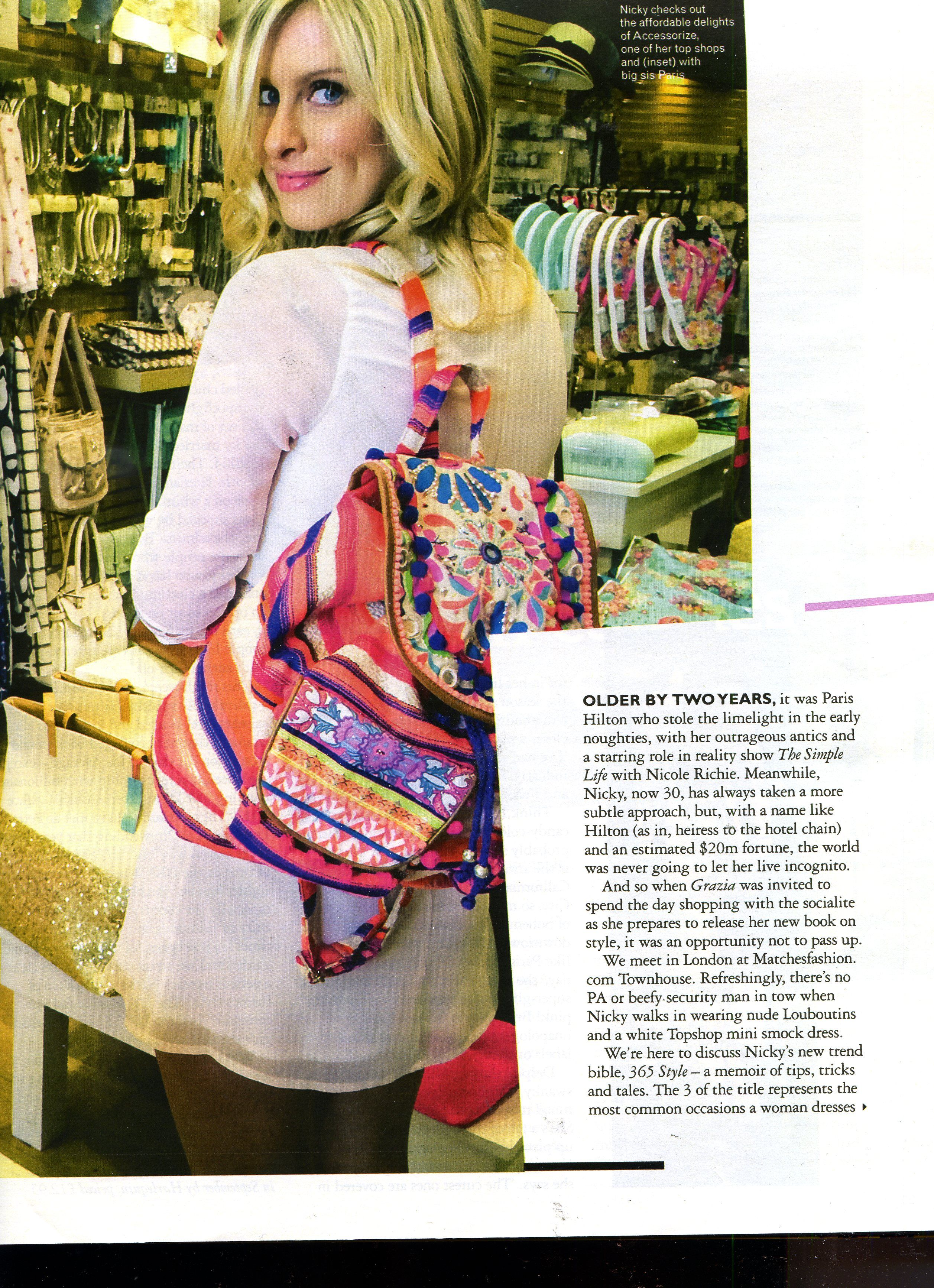 Nicky Hilton loves Accessorize. Here she is in the latest issue of Grazia with our Hippy Trippy Pom Pom Rucksack. We love! #NickyHilton #rucksack #backpack