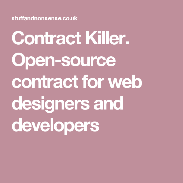 Wordpress Web Design Contract: Contract Killer. Open-source contract for web designers and rh:pinterest.com,Design