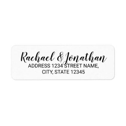 Elegant Black and White Wedding Label - script gifts template