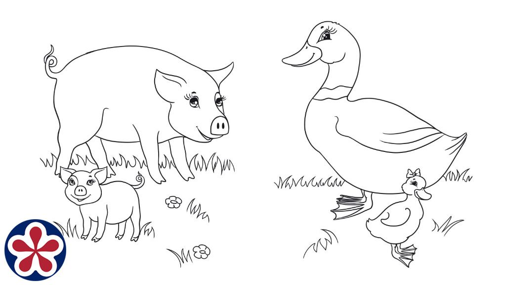 Omalovanky Pro Hospodarska Zvirata A Jejich Deti Teachersmag Com Baby Coloring Pages Baby Animals Farm Animals
