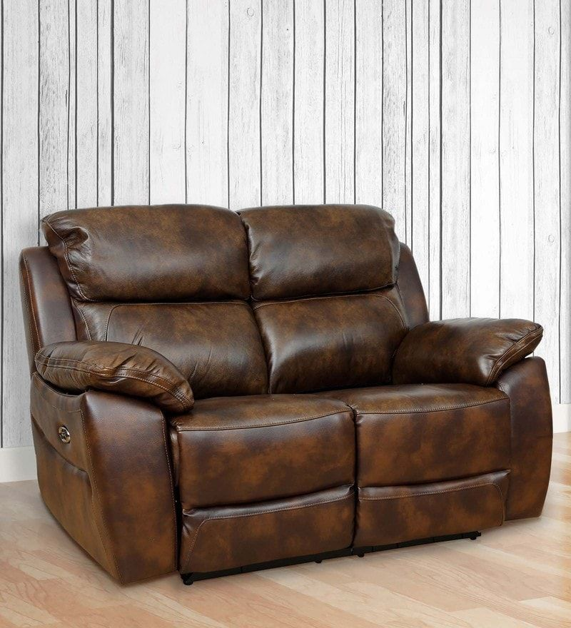 Two Seater Motorized Half Leather Recliner In Mocha