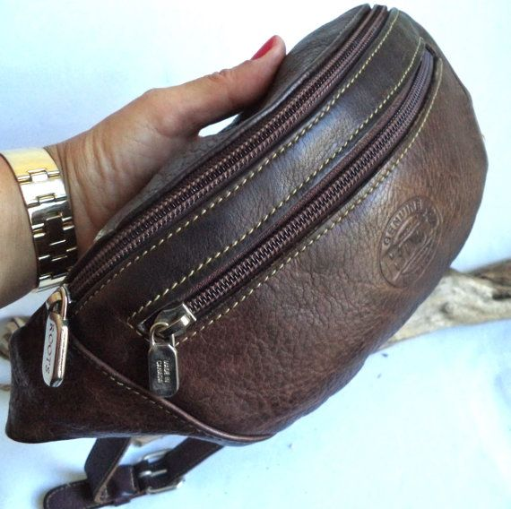 5ba7866831e ROOTS Brown Prince Leather Belt Bag Fanny Pack Purse Pouch Iconic ...