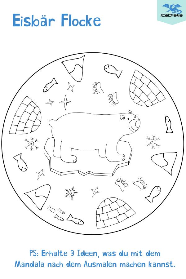 Mandala Eisbär Flocke Tiere zum ausmalen Ausmalen und
