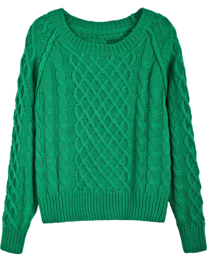 cc65646b5e86 Green Long Sleeve Diamond Patterned Cable Knit Sweater - Sheinside ...