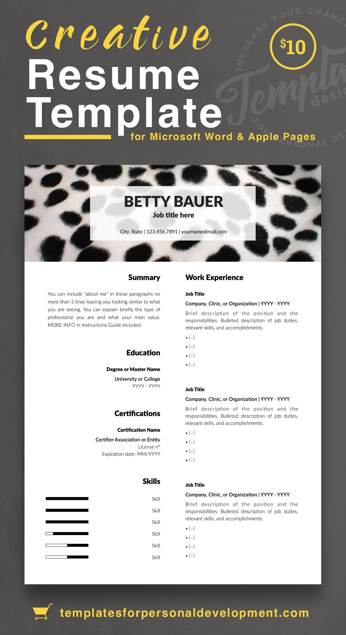 Betty Bauer Animal Care Resume Cv Template For Word Pages Us Letter A4 Files 1 2 3 Page Resume Version Cover Letter References Cover Letter Resume Templates Reference Letter Template Resume