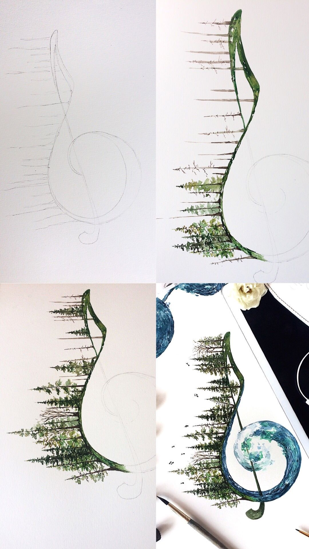 Rosa F (@rosies.sketchbook) • Instagram photos and videos #photosofnature Treble clef watercolor painting step by step process photos, mini tutorial. Sound of nature, is music to my ears, rustling of the leaves and the crashing of waves on the shore. #art #trebleclef #sound #artist #artwork #ocean #trees #nature #natureart