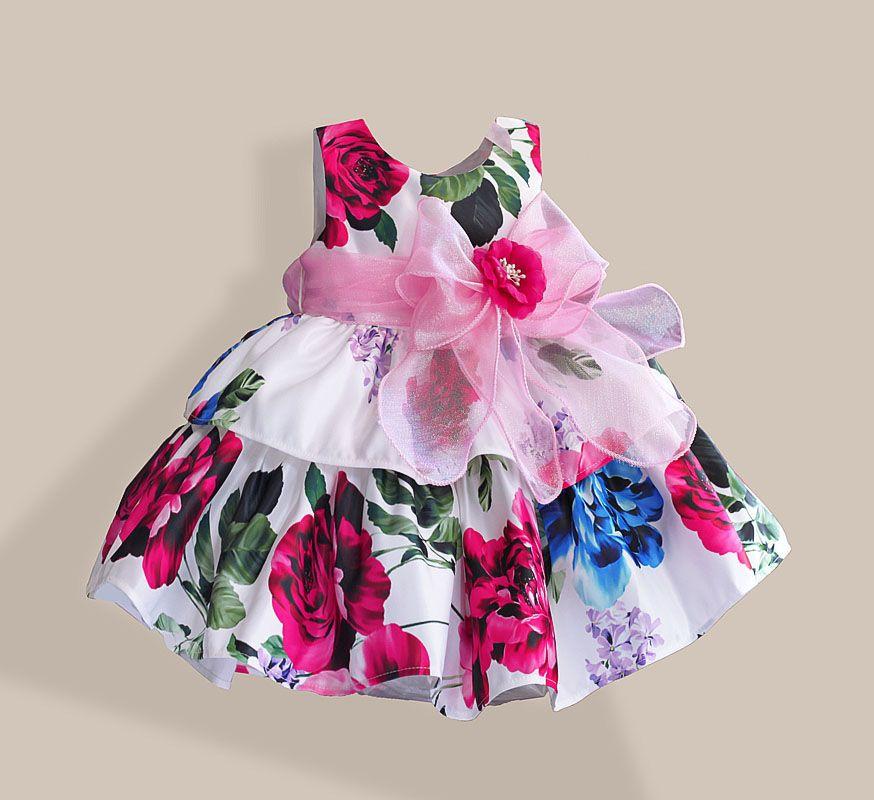 Navidad Vestidos de Las Muchachas de Moda de Seda Arco Rosa ...