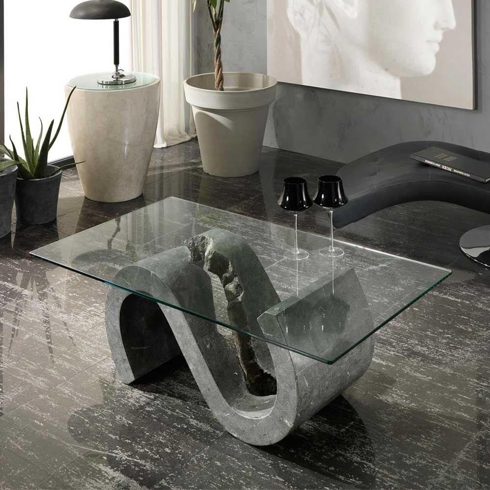 Design Couchtisch aus Stein und Glas S-förmig Jetzt bestellen unter ...