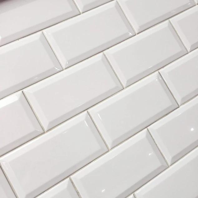 10x20cm Metro White Gloss Bevelled Brick Tile I 2020 Victorian