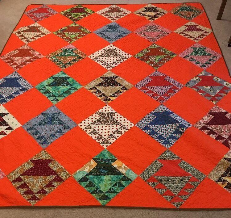 "Vintage Handmade Orange/Brown With Square Quilt 83.5""x67.5"""