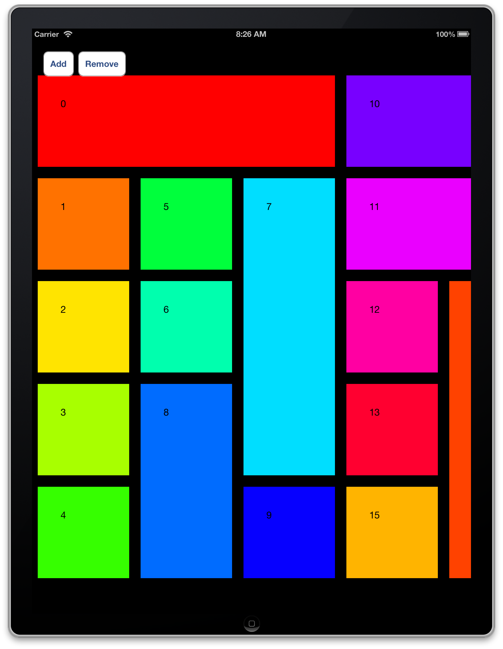 Custom layout for different cell sizes in UICollectionView | Quilts