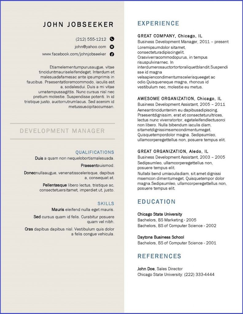 Canada Resume Template  Resume Downloads  Creative Resume Design
