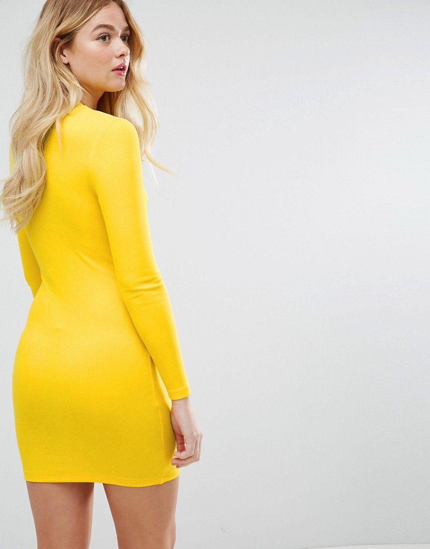 Asos mini bodycon dress in rib with long sleeves yellow bodycon
