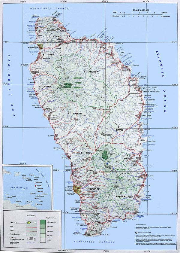 Caribbean Topographic Map.Large Detailed Topographical Map Of Dominica Island Dominica Island