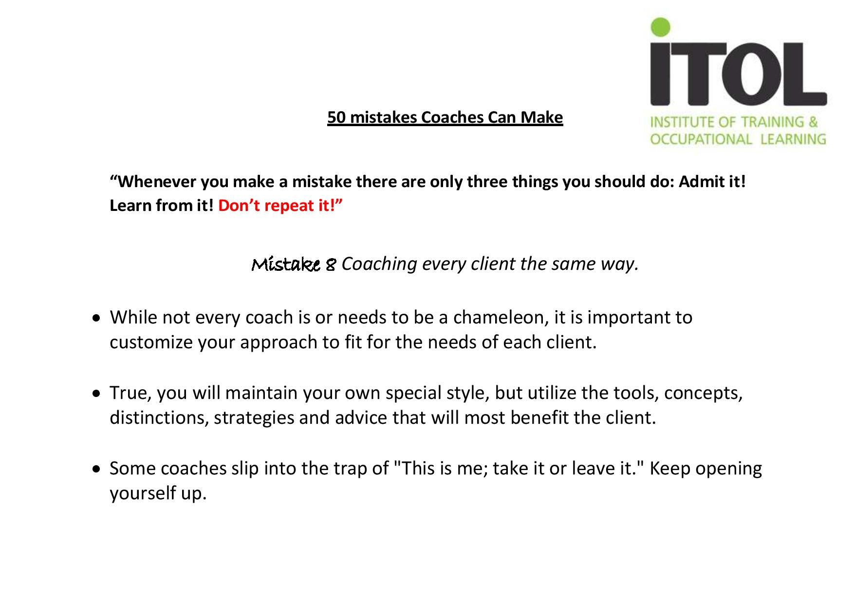 Mistake No.8 from our 50 Mistakes Coaches Can Make!