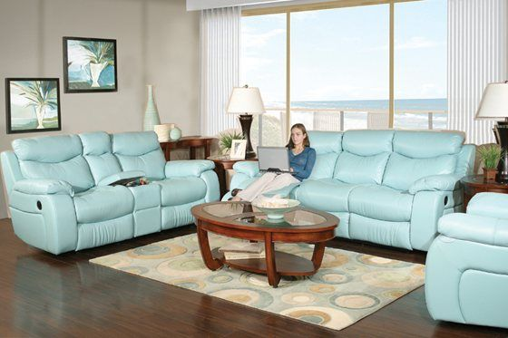 Kane S Furniture Delaney Aqua 5 Piece Reclining Leather