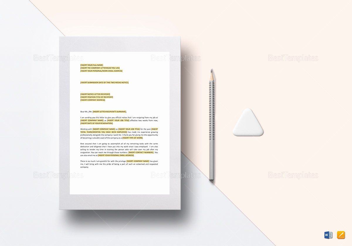 Two Weeks Notice Template Word Unique Two Weeks Notice