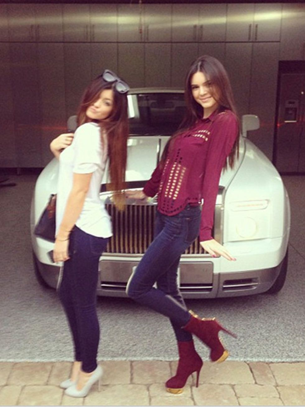 When they're not strutting down runways or designing their own clothes, Kendall and Kylie are just normal teenage girls—with awesome street style. Just check out how they dress up a pair of jeans! Adding a pair of heels in a fun color that matches your top turns a basic pair of skinnies into a killer outfit!