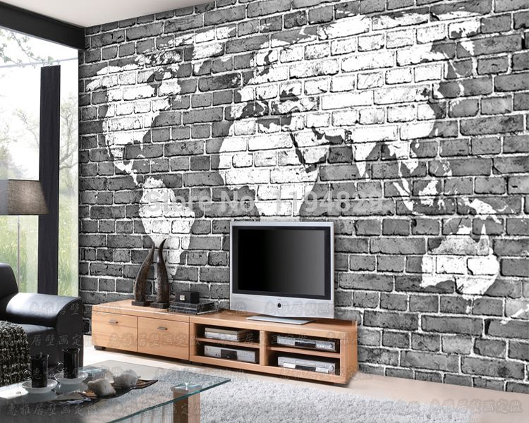 Aliexpress 3d Old Gray Brick Wall World Map Large Mural