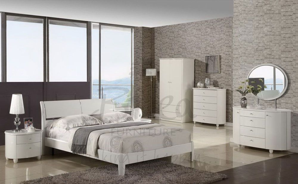 modern white gloss bedroom furniture luxury design ideas with best     modern white gloss bedroom furniture luxury design ideas with best brick stone wall design and relaxing wall paint color and marble ceramic tile flooring
