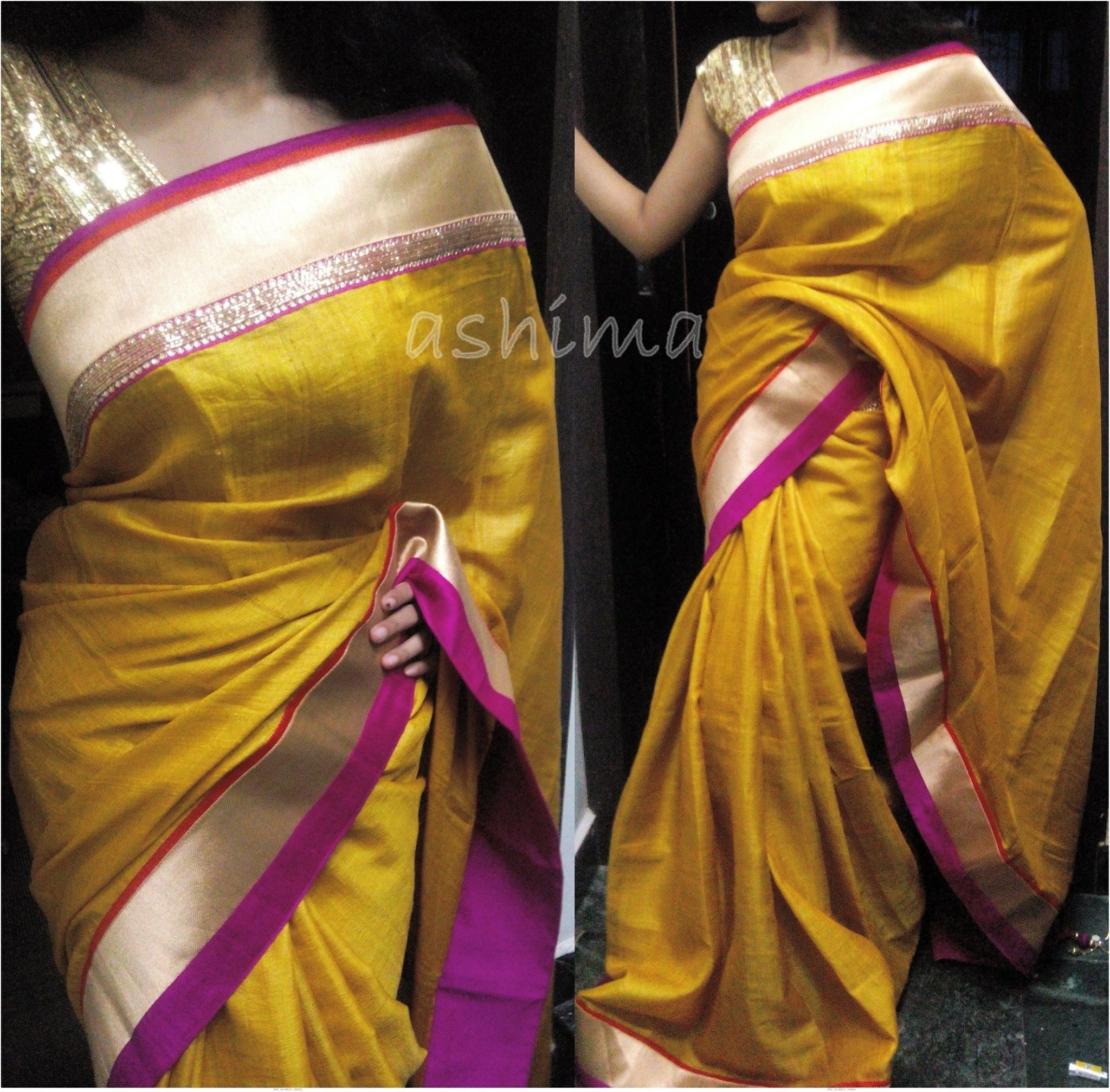 golden yellow saree with pink border  sewing inspiration